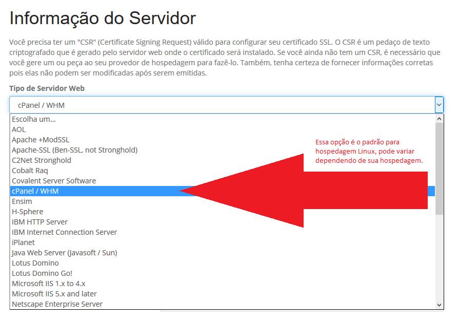 Informação do Servidor