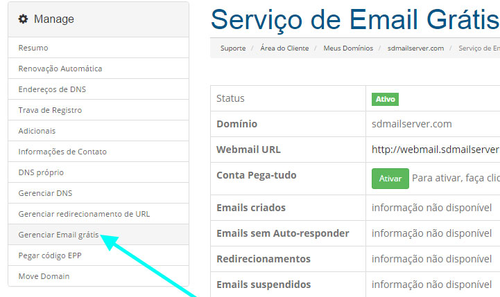 gerenciar email dominio