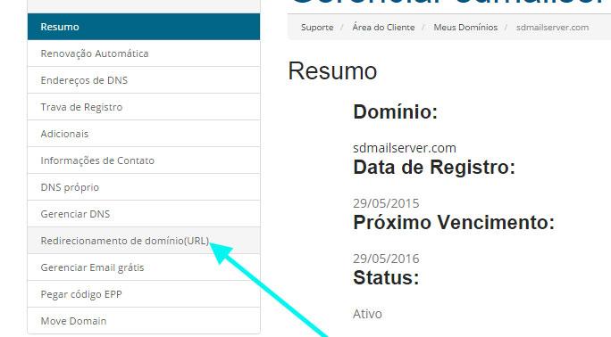 redirecionamento de domínio url