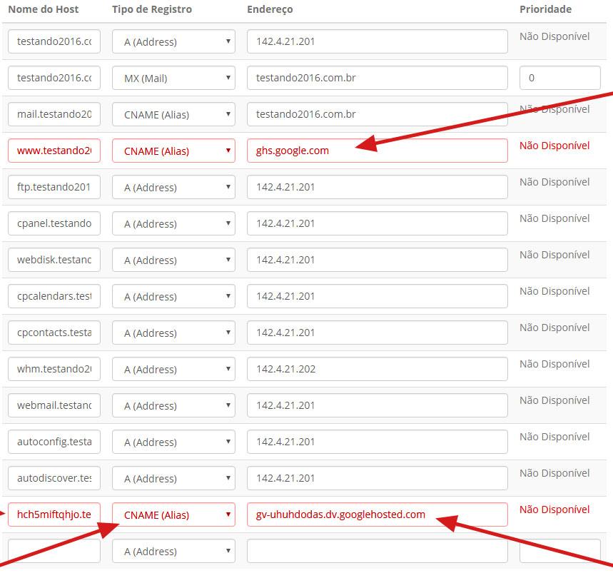 Tabela de DNS blogger dominio .com.br