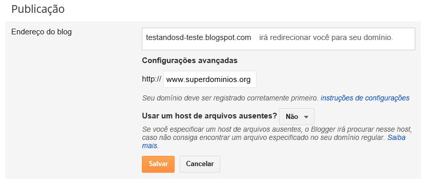 Domínio personalizado no blogger